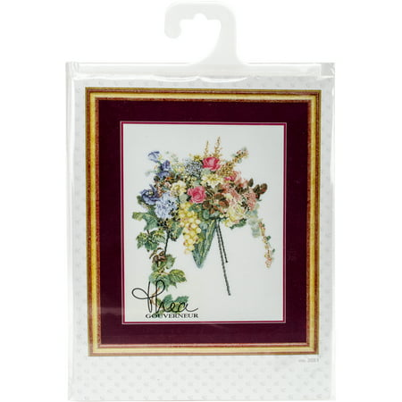 """Floral Cascade On Aida Counted Cross Stitch Kit-14.5""""X18.5"""" 16 Count - image 1 of 1"""