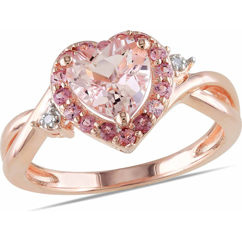1-1/3 Carat T.G.W. Morganite Pink Tourmaline and Diamond-Accent Pink Rhodium-Plated Sterling Silver Heart Ring