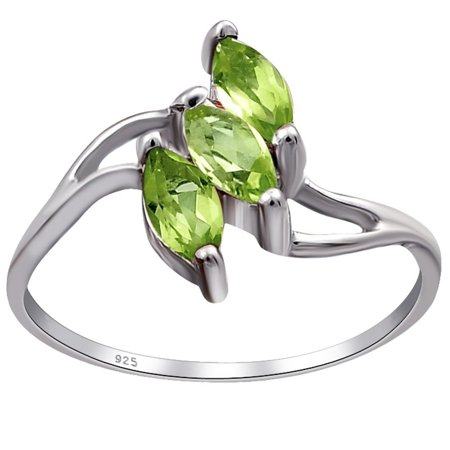 Brilliant Cut Peridot Ring - Orchid Jewelry 925 Sterling Silver 0.75 Carat Peridot Marquise Cut Engageement Ring Size -7
