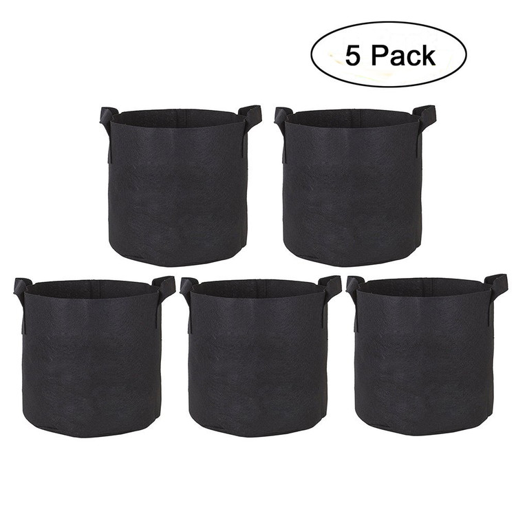 GCKG 5-Pack 5 Gallon Planter Grow Bag Nonwovens Fabric Pots Container Plant Garden Planter Bags with Handles Black 32cm Diameter 25cm Height