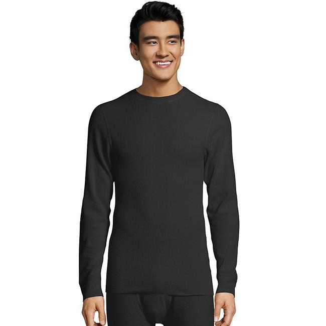 Ultimate Organic Cotton Mens Thermal Crewneck T-Shirt, Black - 2XL - image 1 de 1