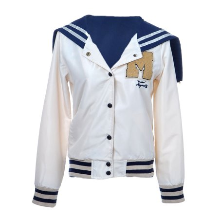 (Anna-Kaci S/M Fit Beige Snap Button Blue Striped M Varsity Track Hoodie Jacket)