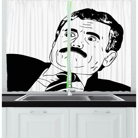 Humor Curtains 2 Panels Set, Reaction Guy Human Rage Comics Man with Moustache in Suits Gesture Artwork Print, Window Drapes for Living Room Bedroom, 55W X 39L Inches, Black and White, by Ambesonne - Comic Suit