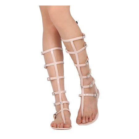 Women PVC Gladiator Sandal - Costume, Casual, Summer - Knee High Gladiator - GE78 By Wild Diva
