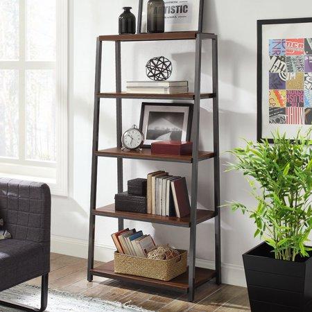 Mainstays Arris 4-Shelf Tower Bookshelf, Canyon Walnut Finish