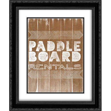 Black Light Rental (Paddle Board Rentals 2x Matted 20x24 Black Ornate Framed Art Print by Doucette,)