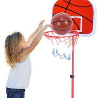 WALFRONT Portable Basketball Hoop System, Adjustable Basketball System, Children Basketball System, Height Adjustable Basketball Stand System Hoop Backboard Net Kit for Children Indoor/Outdoor