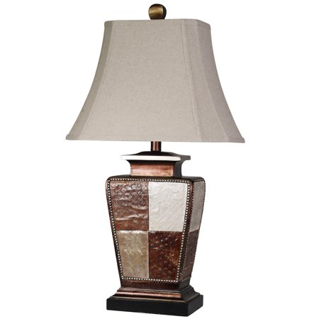 Taupe Rectangular Table Lamp (Austin Table Lamp - Bronze, Cream, Gold Leaf Finish - Taupe Fabric Shade)