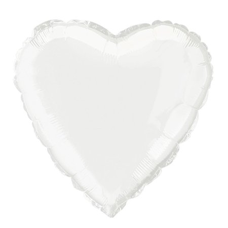 18'' Foil White Heart Balloon - Balloon Avalanche