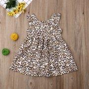Toddler Baby Girls Summer Dress Leopard Print Sleeveless Sundress Summer Clothing