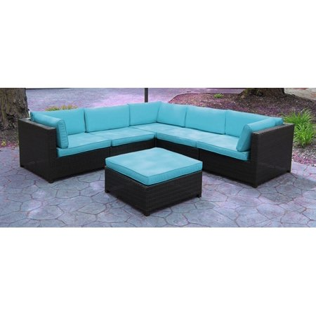 Black Resin Wicker Outdoor Furniture Sectional Sofa Set - Blue Cushions