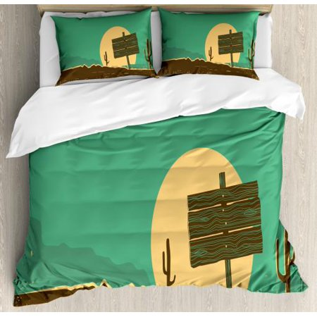 Western Queen Size Duvet Cover Set, Western Desert Landscape with Cactuses Grungy Old Paper Texture, Decorative 3 Piece Bedding Set with 2 Pillow Shams, Sea Green Beige and Umber, by