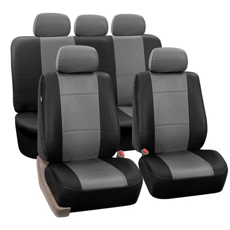 FH Group Black and Gray Faux Leather Airbag Compatible and Split Bench Car Seat Covers, Full Set