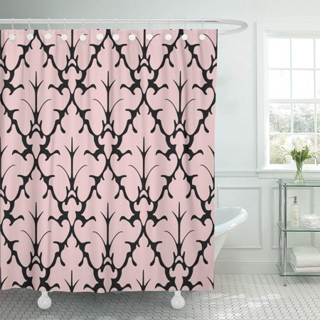 KSADK Pink French Gothic Damask Abstract Antique Baroque Black Curtains Curves Drapery Bathroom Shower Curtain 60x72 inch](Pink Damask)