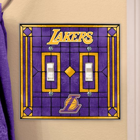 Los Angeles Lakers Art Glass Lightswitch Cover (Double) by