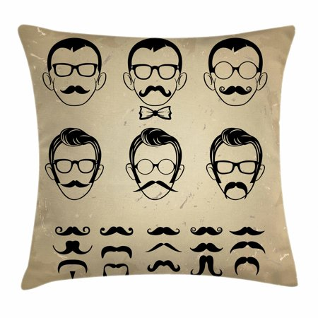 Geek Throw Pillow Cushion Cover, Male Face Silhouettes Showing Types of Moustaches and Haircuts Image, Decorative Square Accent Pillow Case, 18 X 18 Inches, Eggshell Beige and Black, by (Different Types Of Haircuts For Black Males)