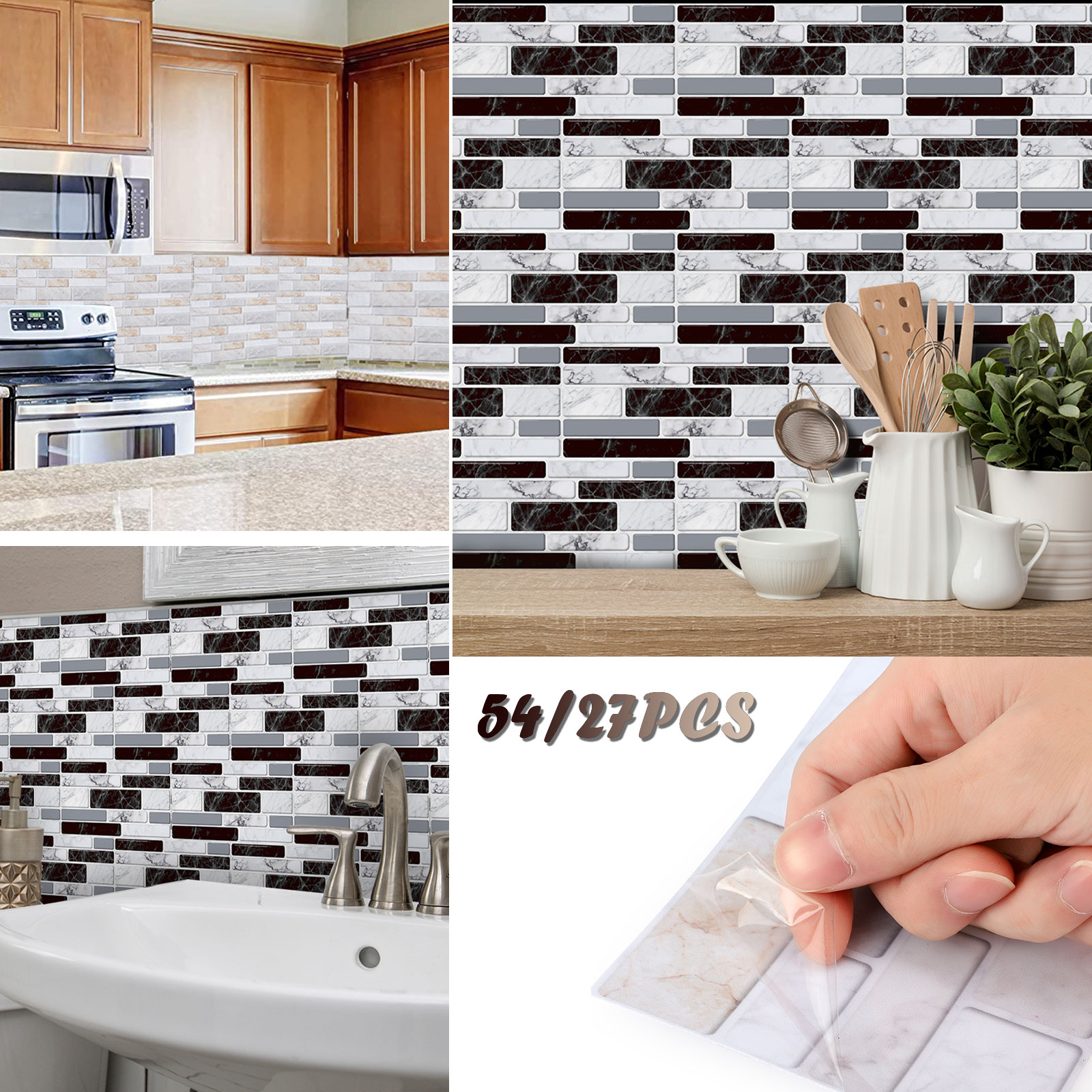 20 Mosaic Tile Sticker Stick On Bathroom Kitchen Home Wall Decals Self-adhesive