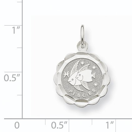 14k White Gold Satin Polished Engravable Pisces Zodiac Scalloped Disc Char XAC947 (22mm x 15mm) - image 1 de 2
