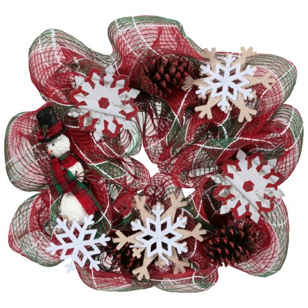 Holiday Time Red/Green/White 20-Inch Mesh Wreath