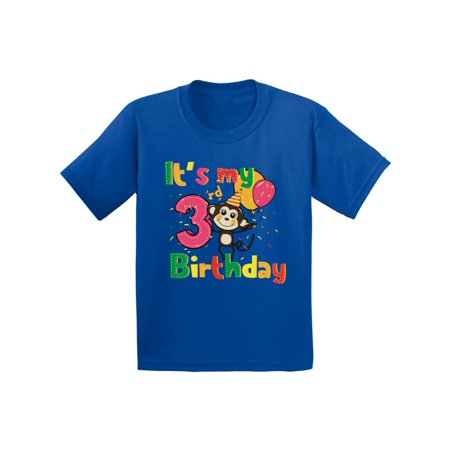 Awkward Styles Monkey Birthday Toddler Shirt Monkey Birthday Party 3rd Birthday Party It's My 3rd Birthday Shirt I'm Three Shirt Birthday Boy Tshirt Monkey Birthday Girl Shirt Gifts for 3 Year (Christmas Gifts For 3 Year Old Girl)