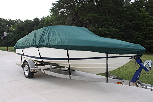 """New VORTEX 5 YEAR CANVAS HEAVY DUTY GREEN VHULL FISH SKI RUNABOUT COVER FOR 19 to 20' FT BOAT, IDEAL FOR 96"""" BEAM... by VORTEX DIRECT"""