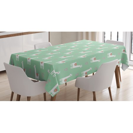 Llama Tablecloth, Cute llama with Candy Cane Hearts Fun Pattern on Mint Green Background, Rectangular Table Cover for Dining Room Kitchen, 52 X 70 Inches, Mint Green Multicolor, by Ambesonne