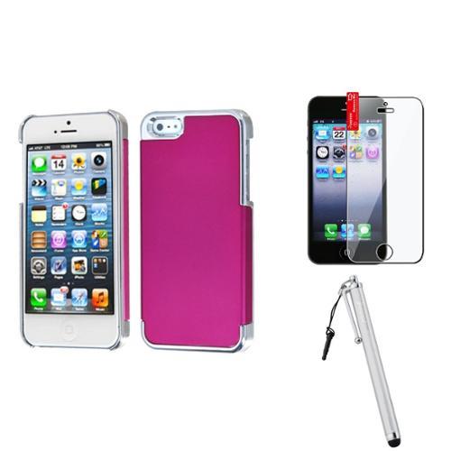 Insten Titanium Hot Pink/Silver Plating Case For iPhone 5S 5 + Film + Stylus Pen
