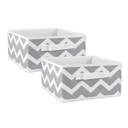 "DII Fabric Storage Bins for Nursery, Offices, & Home Organization, Containers Are Made To Fit Standard Cube Organizers (11x11x5.5"") Chevron Gray - Set of 4"