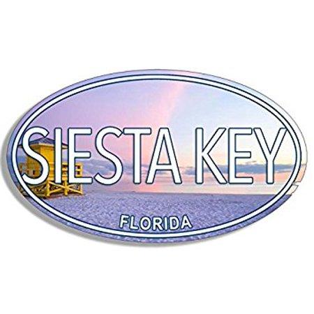 OVAL Siesta Key Florida Sticker Decal fl gulf beach coast 3 x 5 inch