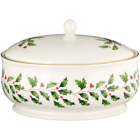 Lenox Holiday Entertaining Covered Dish Gold Covered Vegetable Server