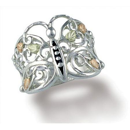 Black Hills Gold Sterling Silver Ring - Black Hills Gold Butterfly Ring in Sterling Silver