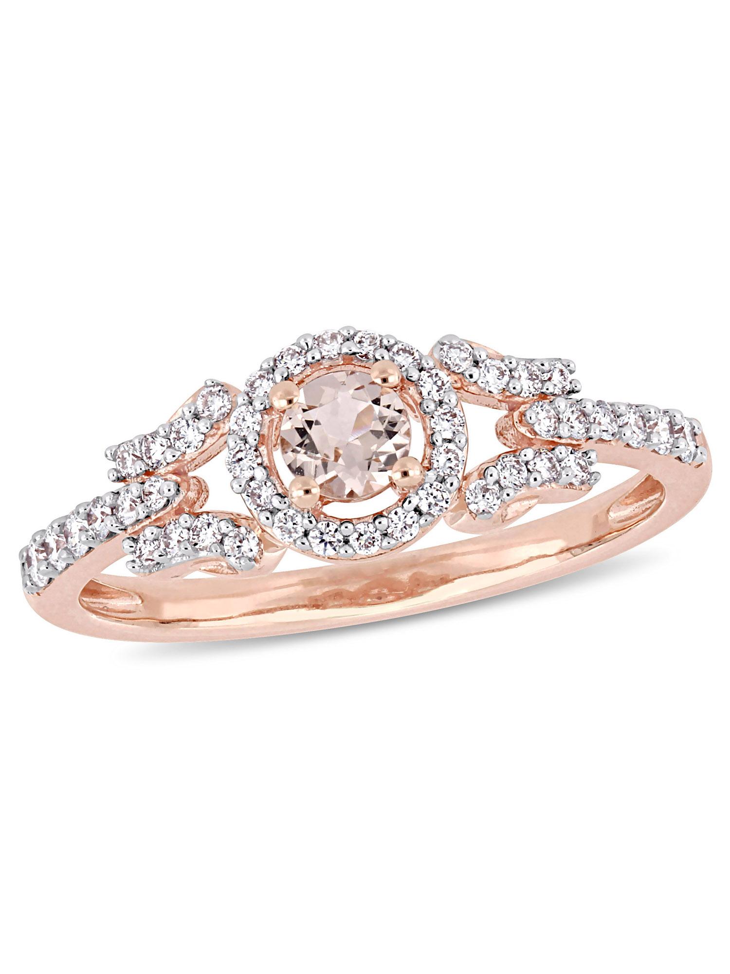 Tangelo 1/4 Carat T.G.W. Morganite and 1/4 Carat T.W. Diamond 14kt Rose Gold Halo Promise Ring
