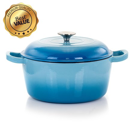 MegaChef 5 Quarts Round Enameled Cast Iron Casserole with Lid in Blue Chasseur Cast Iron Casserole