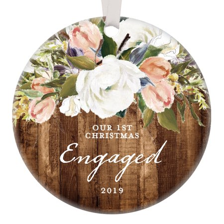 Rustic Engagement Ornament, 2019 First Christmas Engaged Gift for Couple Getting Married Modern Farmhouse Floral Present 3