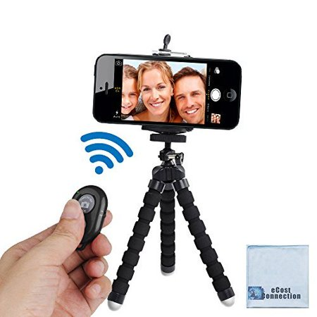 "Acuvar 6.5"" inch Flexible Tripod with Universal Mount for All iPhones, Samsung phones and Many Other Smartphones with Bluetooth Remote Control & an eCostConnection Microfiber"