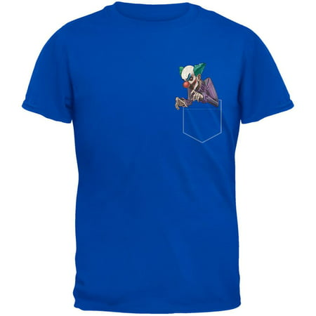 Pocket Halloween Horror Scary Clown Royal Adult T-Shirt (Scary Sounds Of Halloween Part 1)
