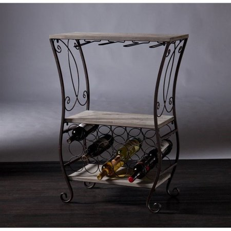 Southern Enterprises Arcino Wine Storage Table in Gray and Rust - image 3 de 6