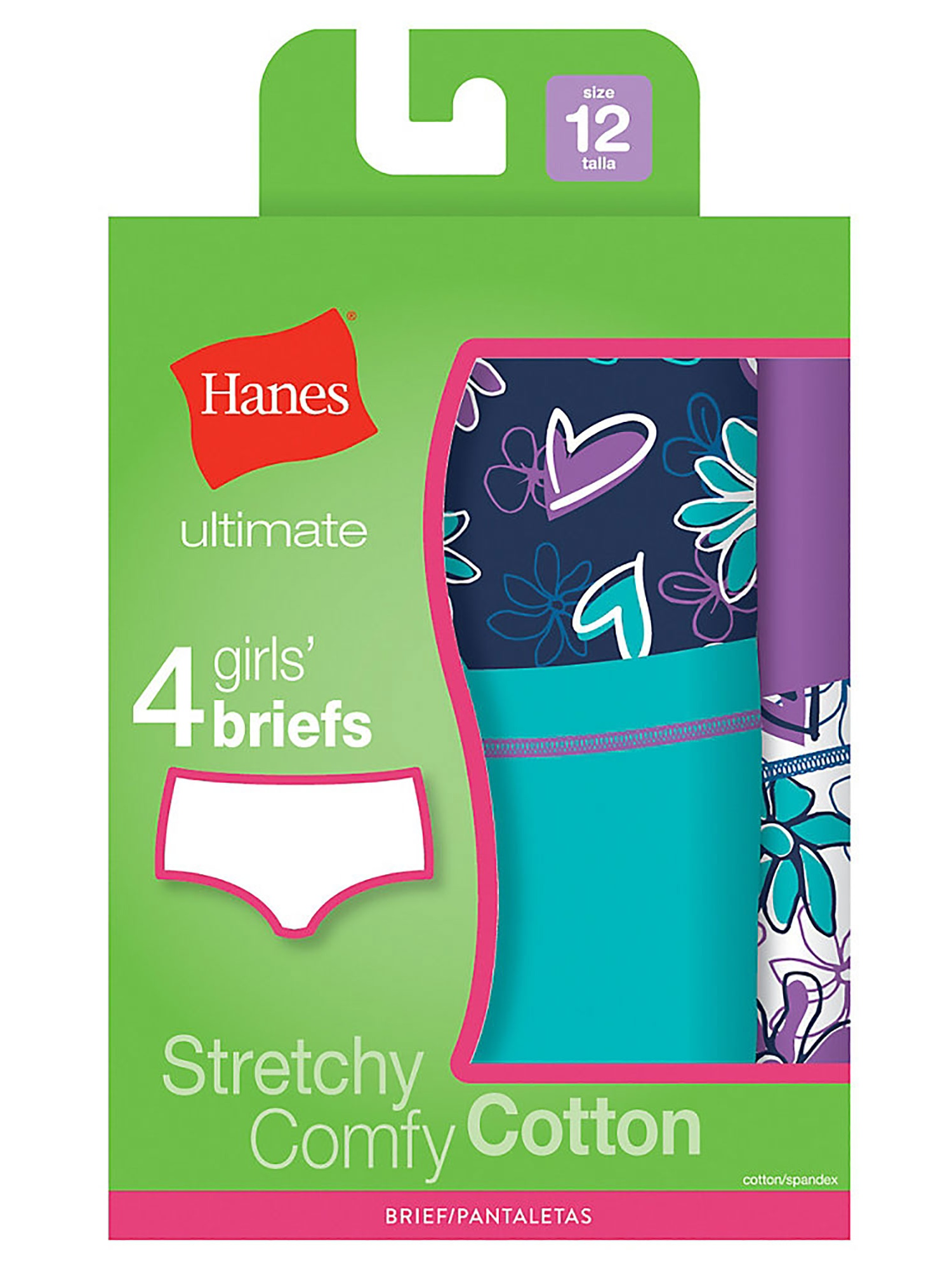 Hanes Ultimate TaglessCotton Stretch Girls' Briefs 4-Pack, Style GUCBP4