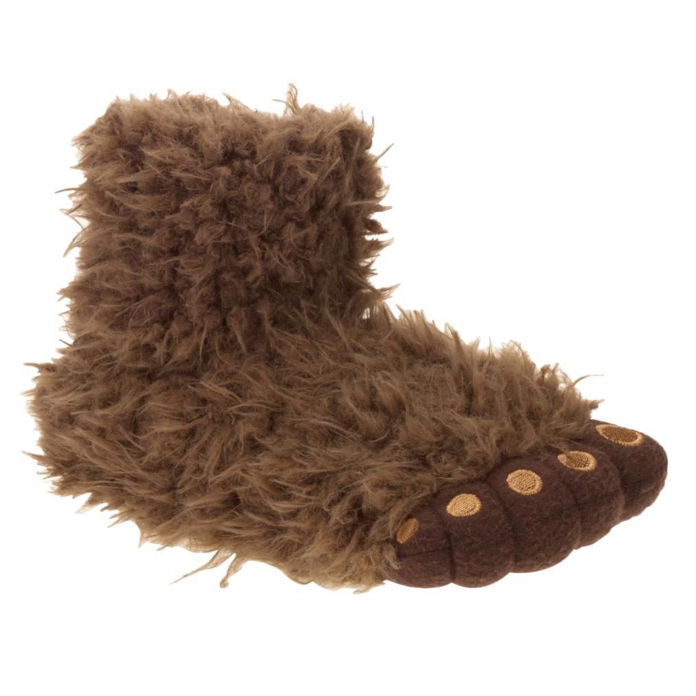 Boys Plush Brown Big Foot Slippers Sasquatch House Shoes 11 12   Walmart.com