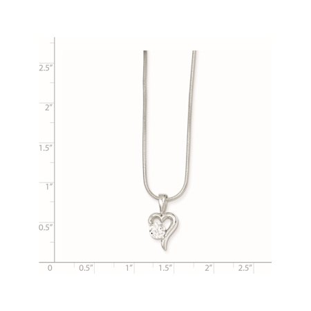 925 Sterling Silver CZ & Chain Pendant / Charm - image 1 de 2