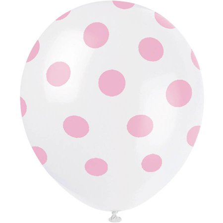 Latex Light Pink Polka Dot Balloons, 12in, 6ct (Pink And White Polka Dot Paper)