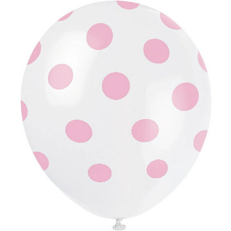 Latex Light Pink Polka Dot Balloons, 12in, 6ct