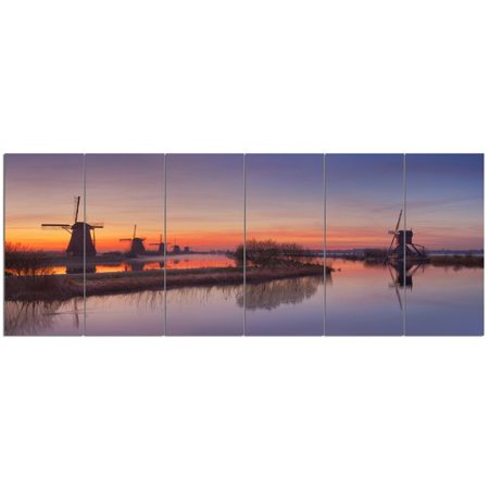 Orange Windmill - Design Art 'Dutch Windmills Panorama'  6 Piece Photographic Print Set on Canvas