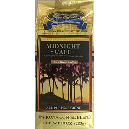 Midnight Cafe Hawaiian Isles Kona Coffee Company 10 oz. bag ground coffee