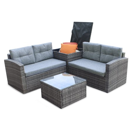 Enjoyable Rattan Sofa 4Pcs Patio Outdoor Furniture Sets Low Back All Weather Rattan Sectional Sofa With Tea Tablewashable Couch Inzonedesignstudio Interior Chair Design Inzonedesignstudiocom