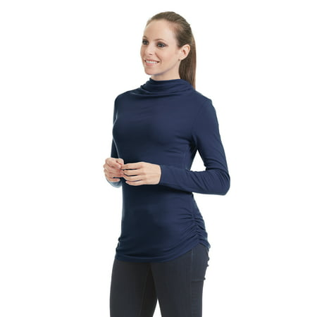 Empire Turtleneck (WSK1386 Womens Long Sleeve Turtleneck Tunic Top With Side Shirring XXL Navy )