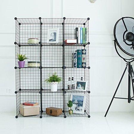 newdora wire storage cubes wire grids cube closet organizer shelf cabinet bookcase free. Black Bedroom Furniture Sets. Home Design Ideas