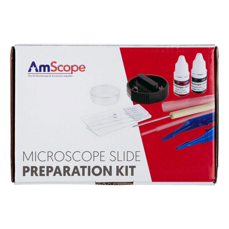 AmScope Microscope Slide Preparation Kit Including Slides, Stains New
