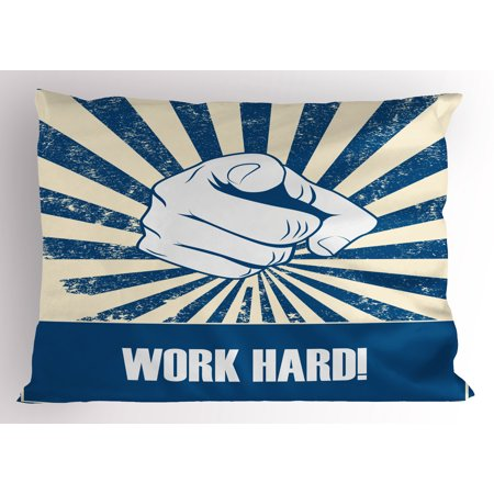 Motivational Pillow Sham Pointing Finger Responsible Job Attitude Inspirational Vintage, Decorative Standard Size Printed Pillowcase, 26 X 20 Inches, Baby Blue Beige Dark Blue, by Ambesonne