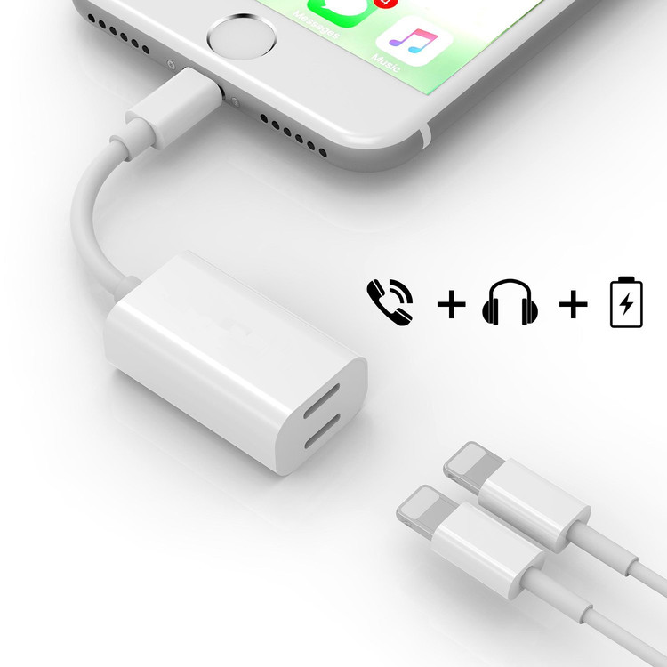 iPhone 8 Adapter & Splitter,  Dual Lightning Headphone Audio & Charge Adapter for iPhone X / 8 Plus or other Lightning Phone Calling Function & Music Control(white)